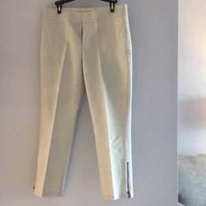 Chinos with cute side zippers. Ankle length